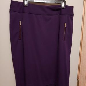Lane Bryant Pencil Skirt Purple Gold Zippers
